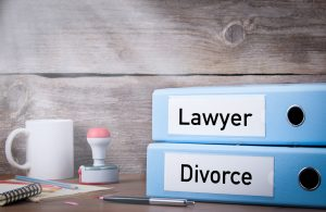 Divorce and Lawyer. Two binders on desk in the office for a divorce lawyer royal oak